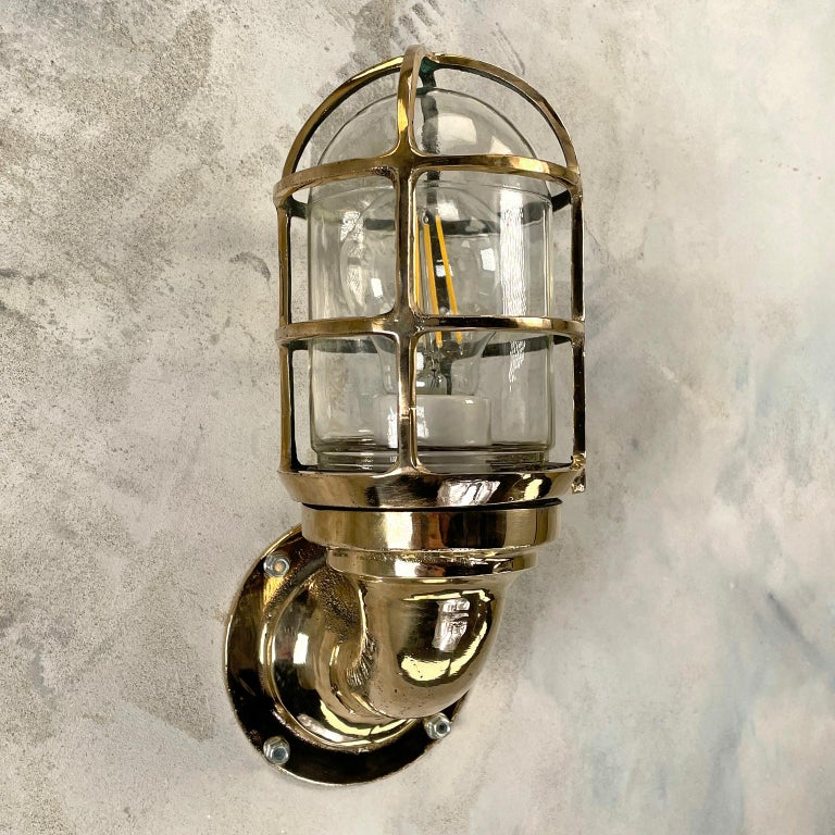Mid-20th Century 1960s American Paulhuhn Crouse-Hinds Bronze 90 Degree Sconce, Cage & Glass Dome For Sale