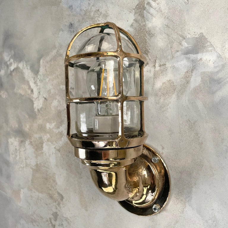 1960s American Paulhuhn Crouse-Hinds Bronze 90 Degree Sconce, Cage & Glass Dome For Sale 2
