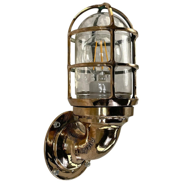 1960s American Paulhuhn Crouse-Hinds Bronze 90 Degree Sconce, Cage & Glass Dome For Sale