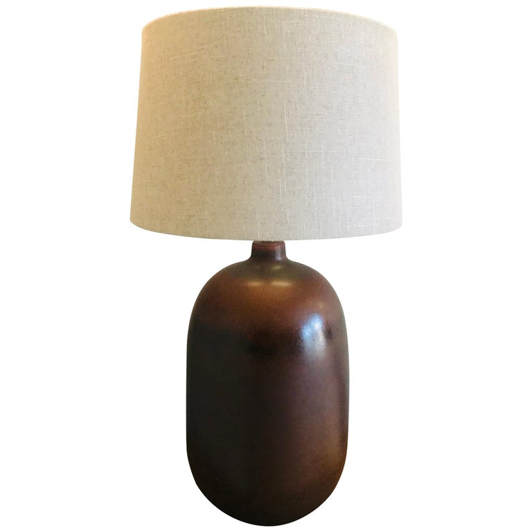 1960s American Pottery Table Lamp For Sale