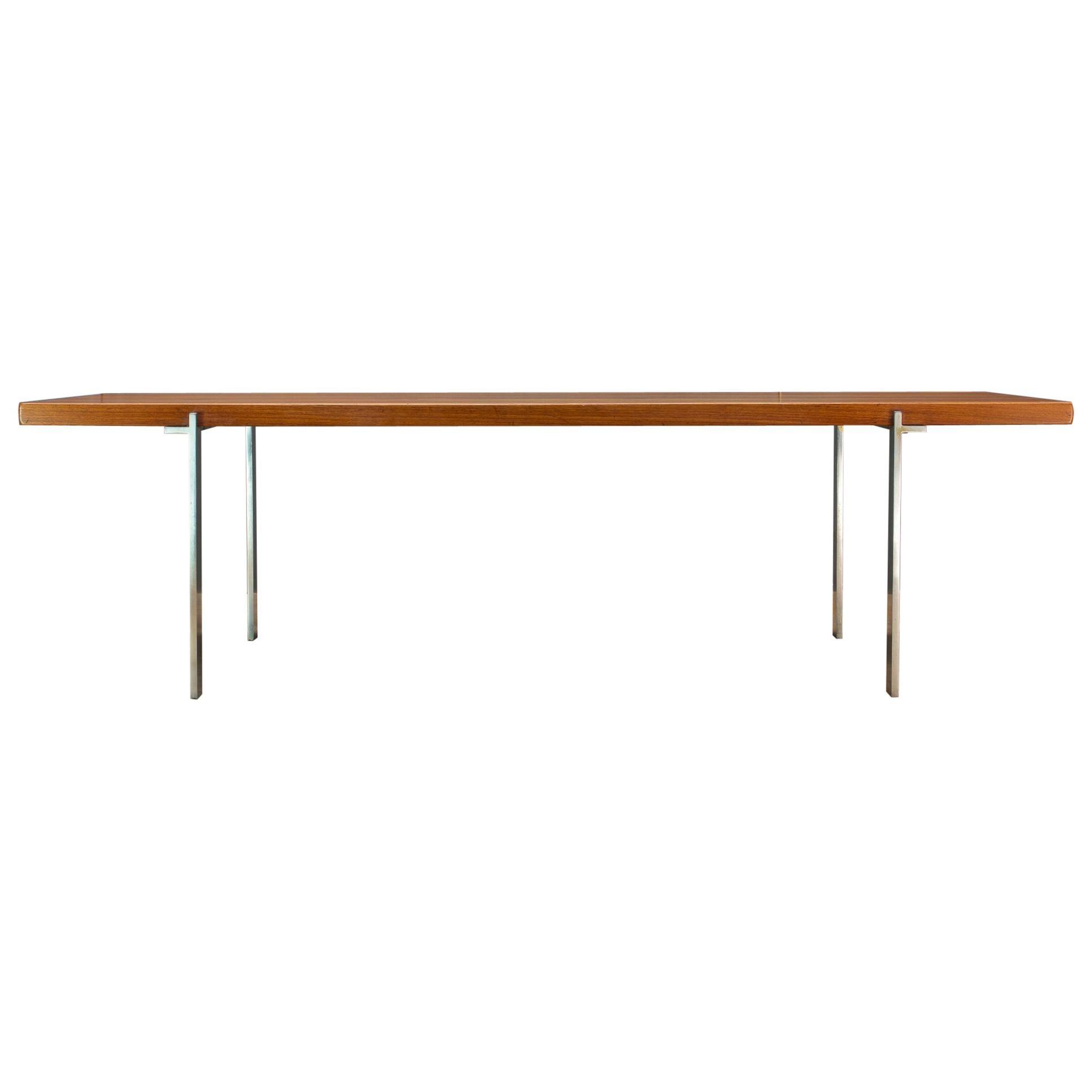 1960s American Studio Craft Coffee Table Solid Teak Plank Welded Steel Baltimore