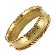 1960s American Yellow Gold Chiselled Bangle Bracelet