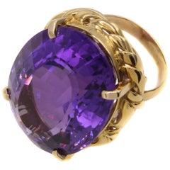 1960s  53.70 Carat Amethyst 18 Karat Gold Ring