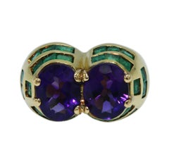1960s Amethyst and Emerald Cocktail Ring