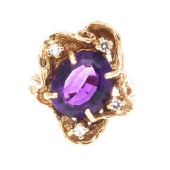 1960s Amethyst Diamond Gold Ring