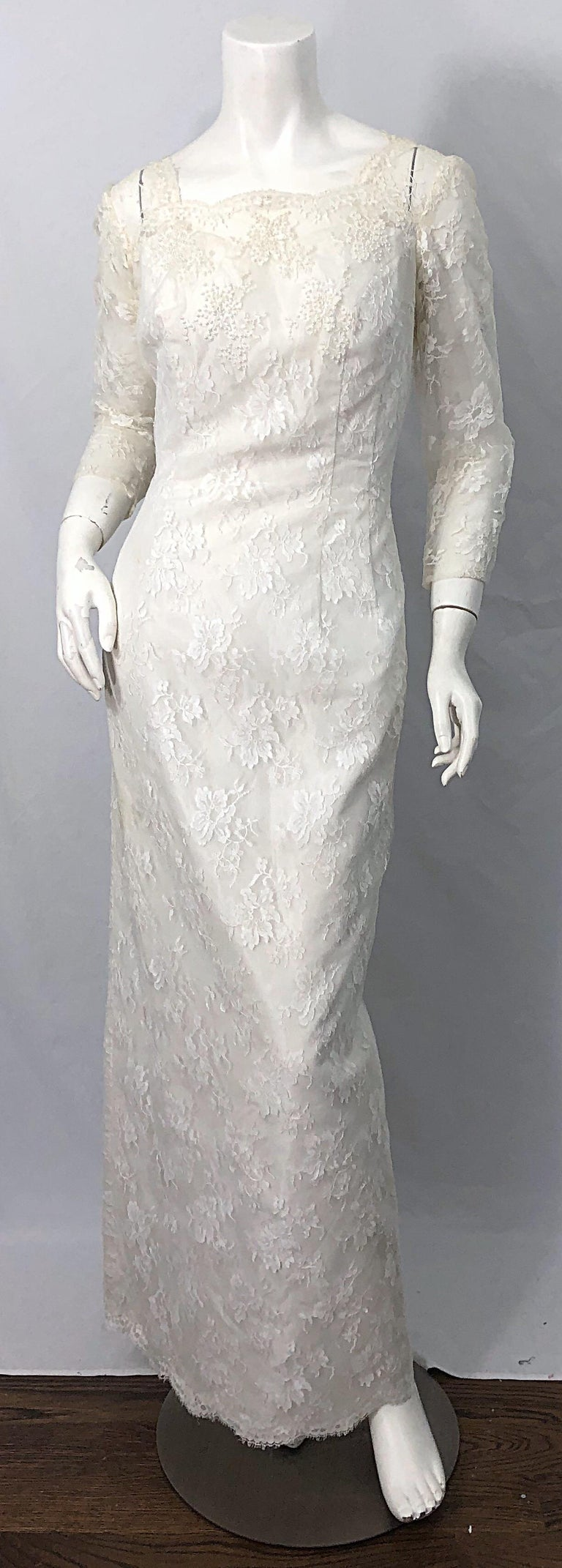 1960s An Original By Constantino White Beaded Couture Vintage Wedding Dress Gown For Sale 5