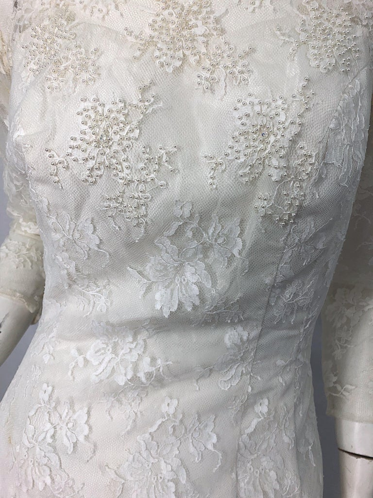 1960s An Original By Constantino White Beaded Couture Vintage Wedding Dress Gown In Excellent Condition For Sale In Chicago, IL