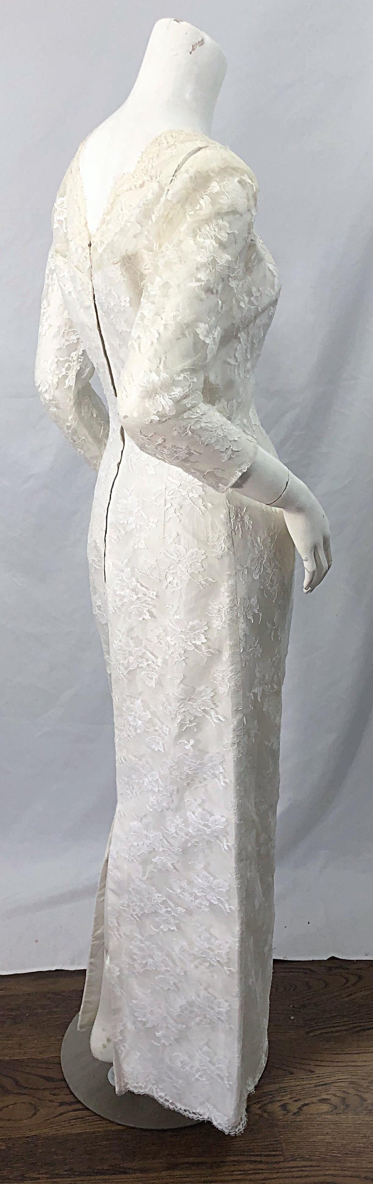 Women's 1960s An Original By Constantino White Beaded Couture Vintage Wedding Dress Gown For Sale