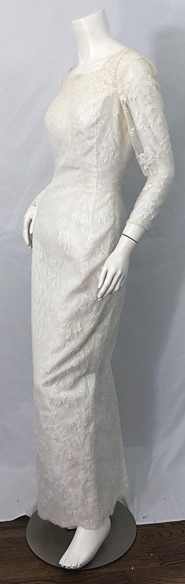1960s An Original By Constantino White Beaded Couture Vintage Wedding Dress Gown For Sale 1