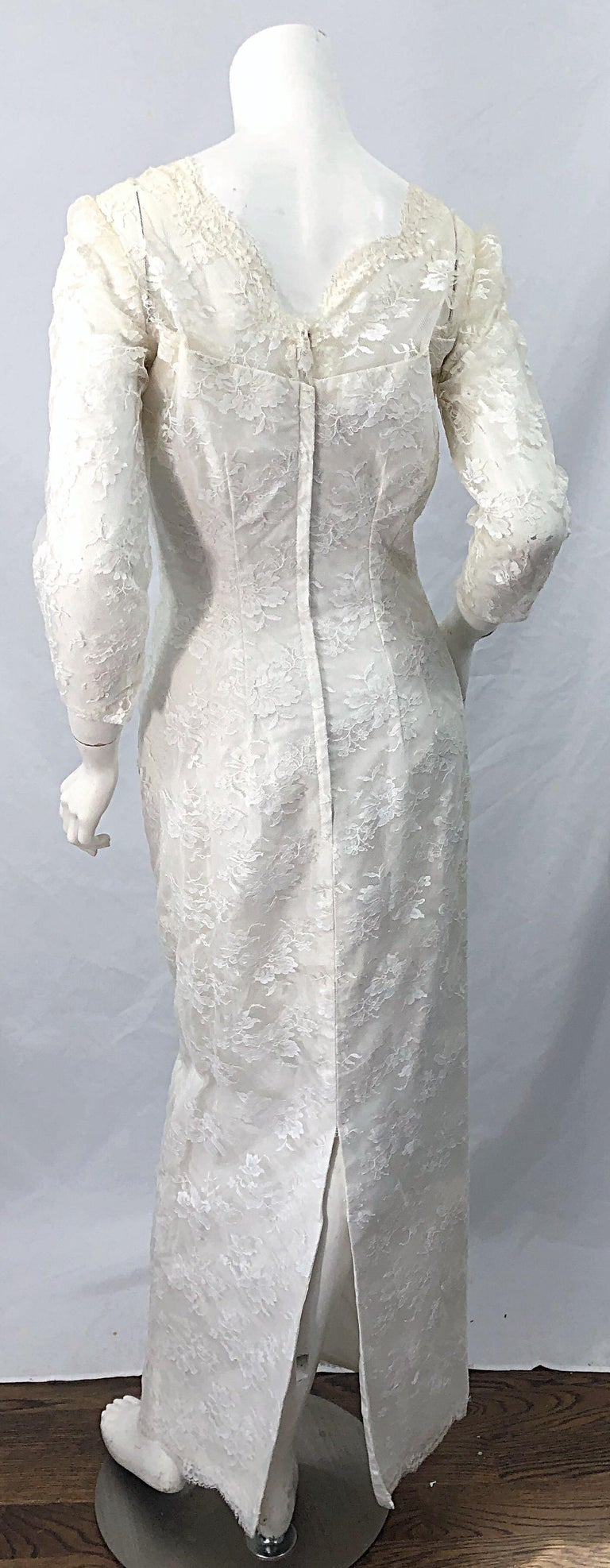 1960s An Original By Constantino White Beaded Couture Vintage Wedding Dress Gown For Sale 2