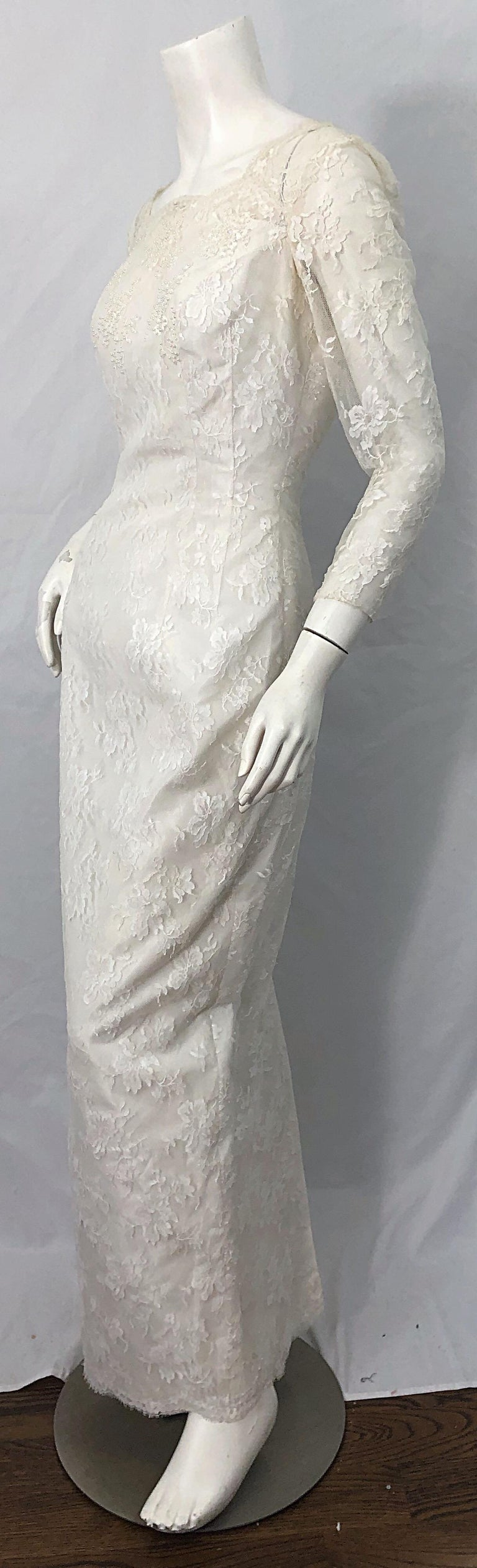 1960s An Original By Constantino White Beaded Couture Vintage Wedding Dress Gown For Sale 3