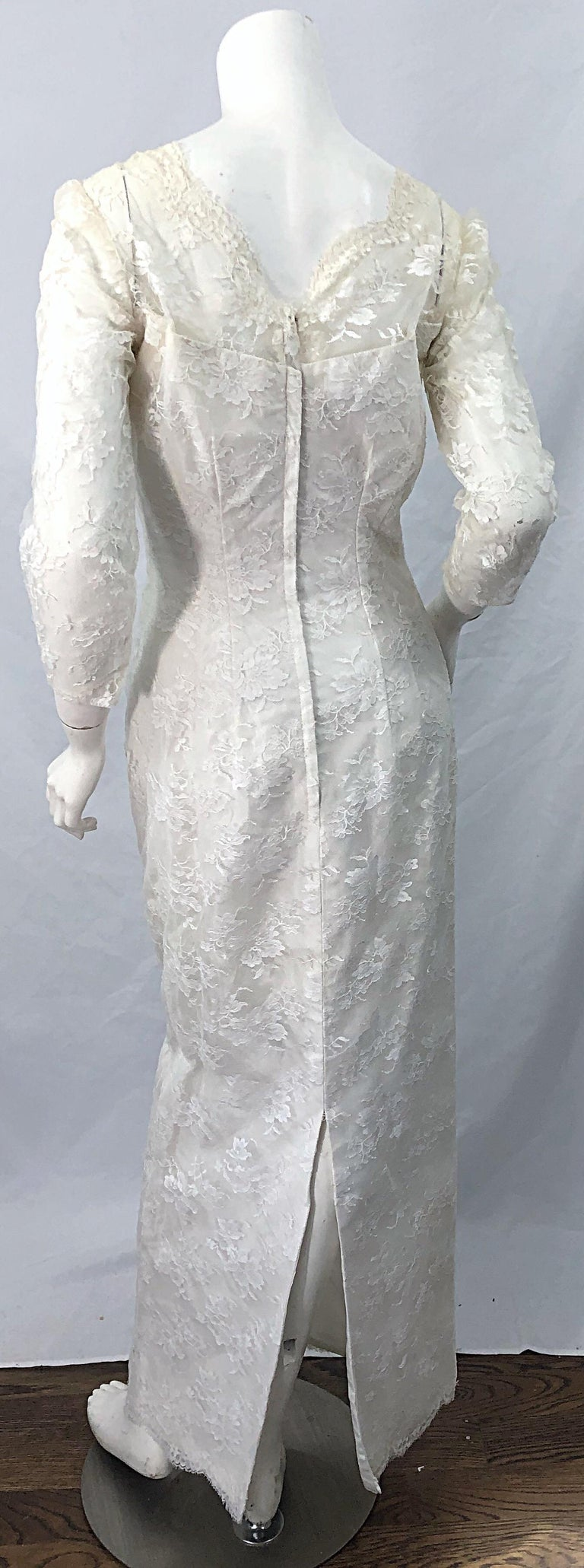 1960s An Original By Constantino White Beaded Couture Vintage Wedding Dress Gown For Sale 4