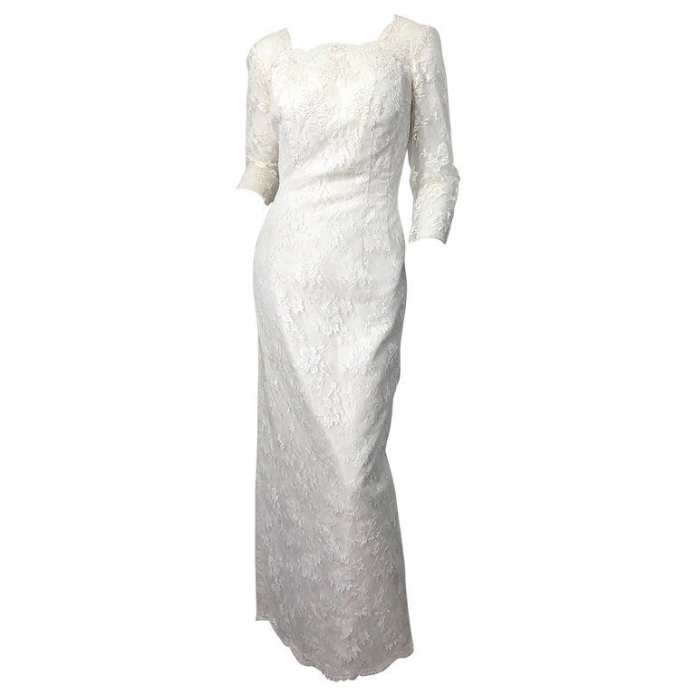 1960s An Original By Constantino White Beaded Couture Vintage Wedding Dress Gown For Sale