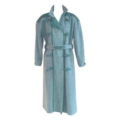 1960s Andre Courreges Robins Egg Light Blue Wool Mohair Coat