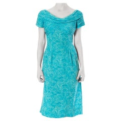 1960S Andre Laug Silk Chiffon Floral  Dress With Short Sleeve