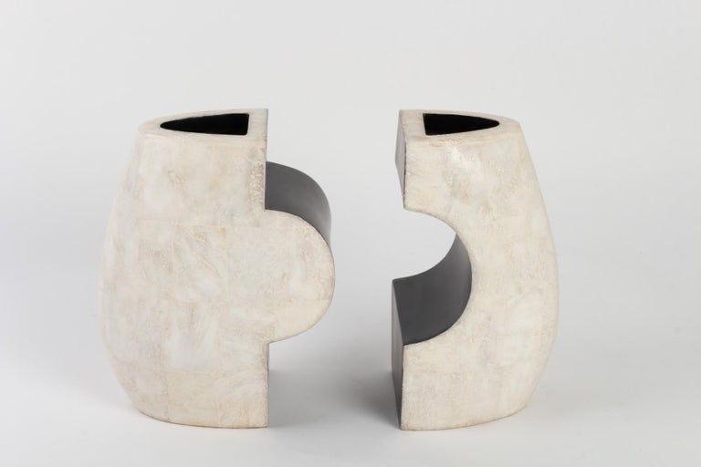 Mid-Century Modern 1960s Andree and Michel Hirlet Enameled Sculptural Ceramic Vases