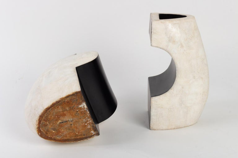 1960s Andree and Michel Hirlet Enameled Sculptural Ceramic Vases In Good Condition In Saint-Ouen, FR