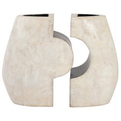 1960s Andree and Michel Hirlet Enameled Sculptural Ceramic Vases