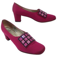 1960's Andrew Geller Magenta Satin Shoes With Pave Crystal Buckles Sz 8 B