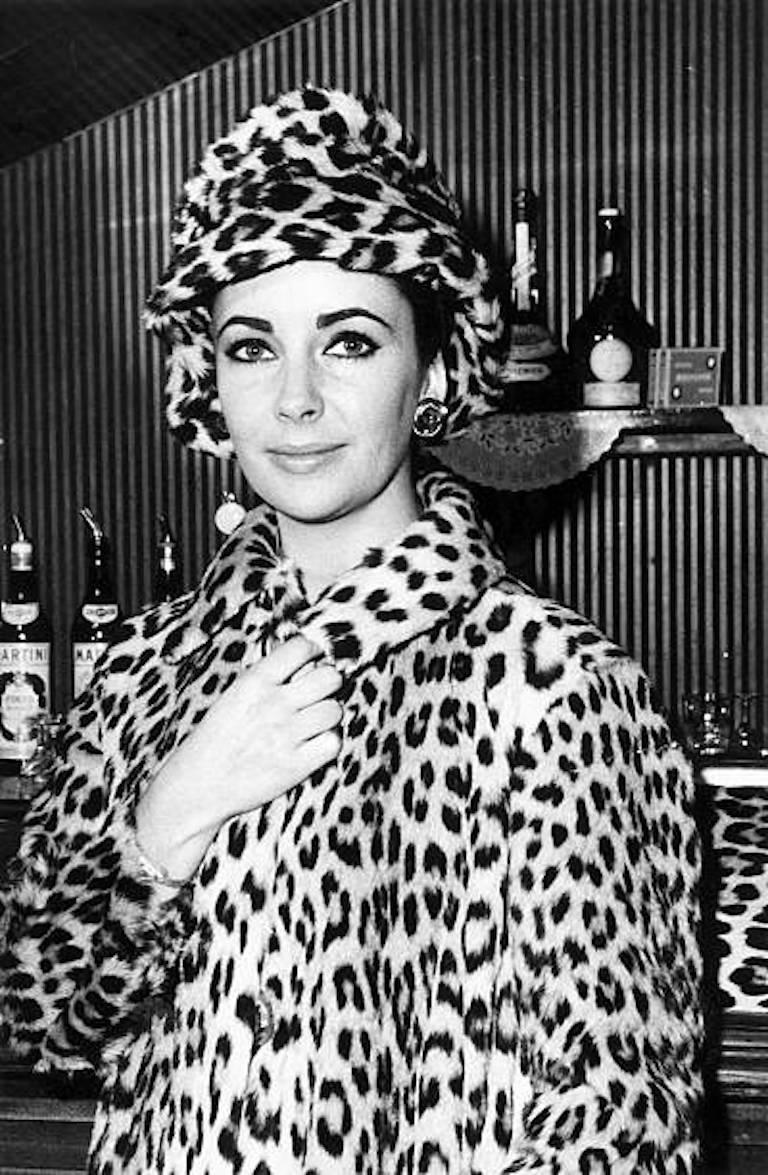 1960s Ocelot Animal Print Leather Bow Embellished Brown Black Genuine Fur Hat For Sale 7