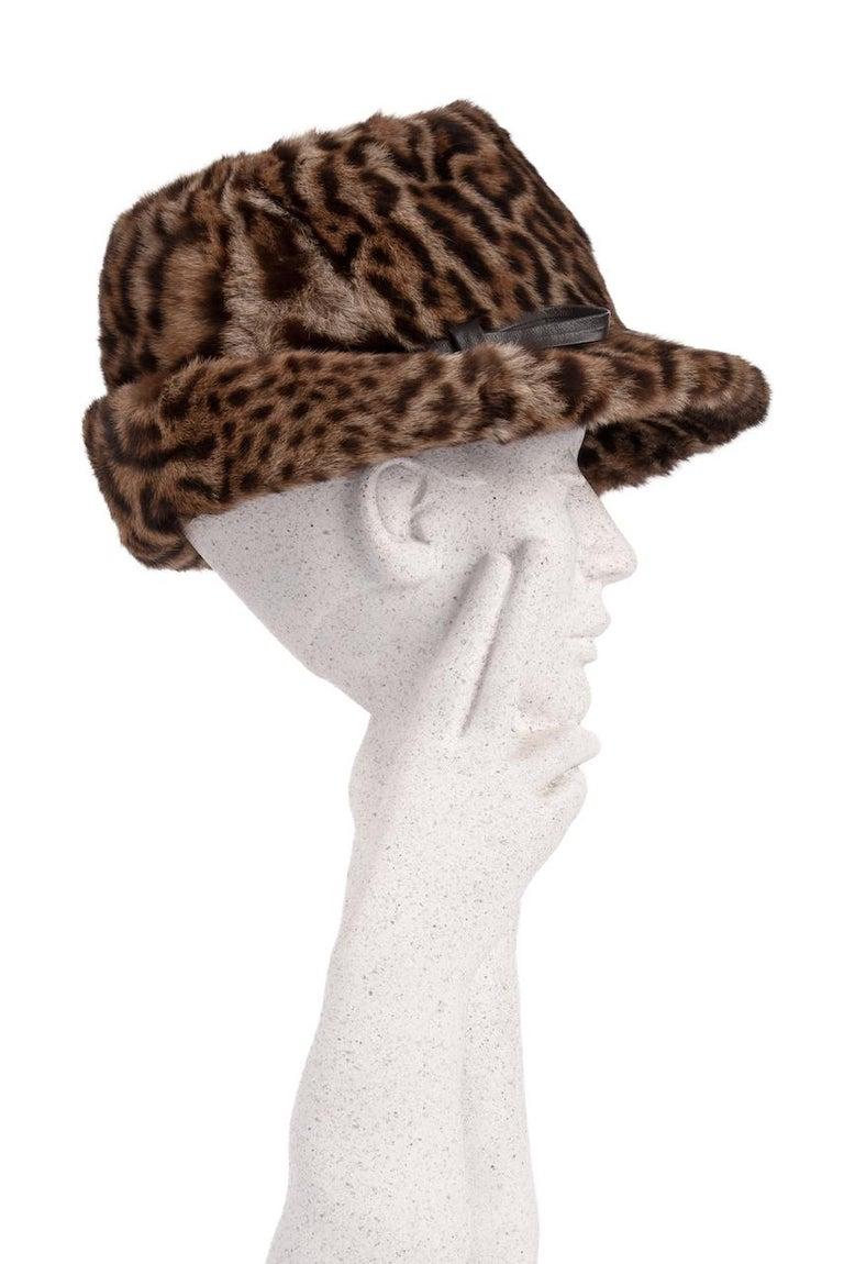 Gray 1960s Ocelot Animal Print Leather Bow Embellished Brown Black Genuine Fur Hat For Sale