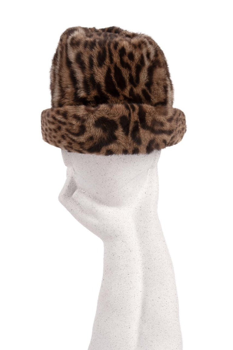 1960s Ocelot Animal Print Leather Bow Embellished Brown Black Genuine Fur Hat In Excellent Condition For Sale In Munich, DE