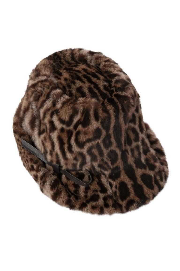 Women's 1960s Ocelot Animal Print Leather Bow Embellished Brown Black Genuine Fur Hat For Sale