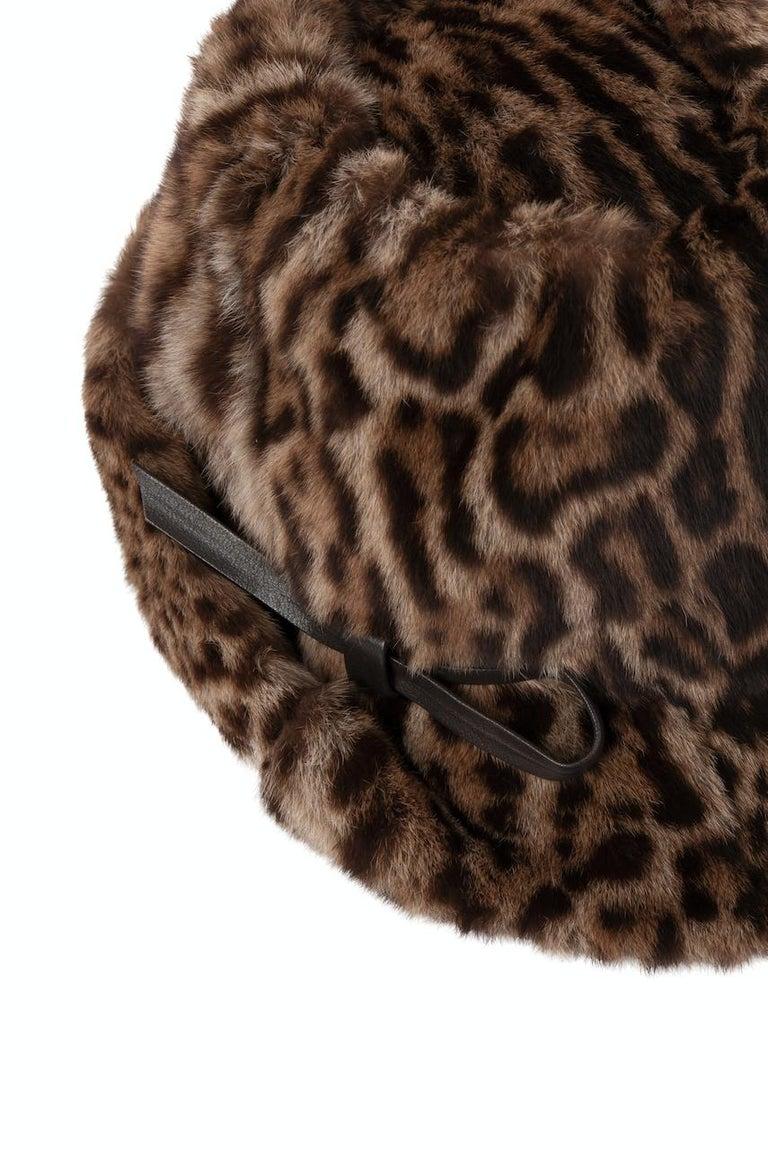 1960s Ocelot Animal Print Leather Bow Embellished Brown Black Genuine Fur Hat For Sale 1