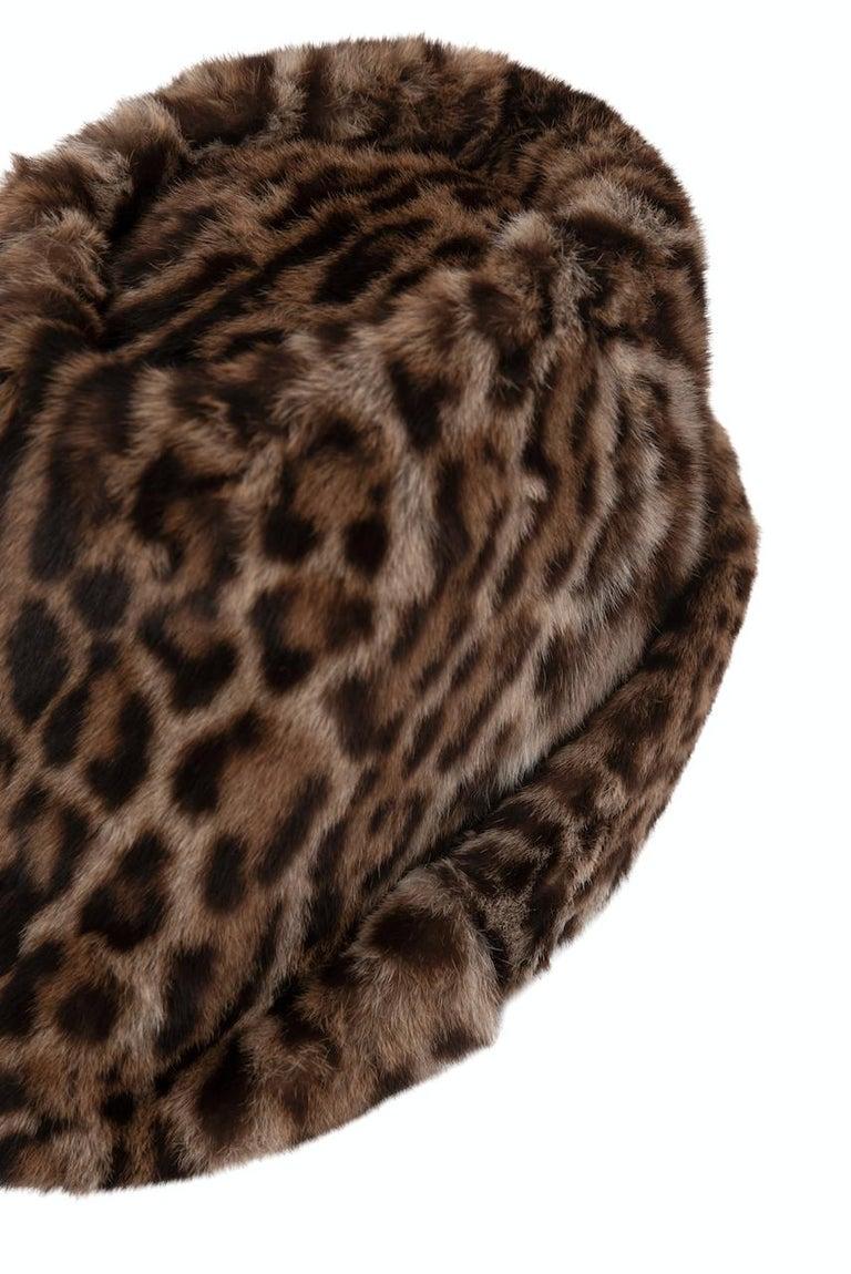 1960s Ocelot Animal Print Leather Bow Embellished Brown Black Genuine Fur Hat For Sale 2
