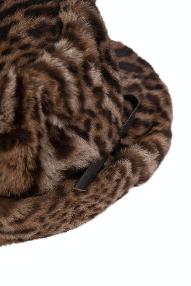 1960s Ocelot Animal Print Leather Bow Embellished Brown Black Genuine Fur Hat For Sale 3