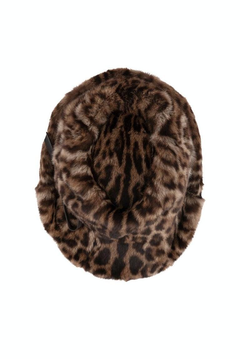 1960s Ocelot Animal Print Leather Bow Embellished Brown Black Genuine Fur Hat For Sale 5