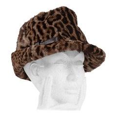1960s Ocelot Animal Print Leather Bow Embellished Brown Black Genuine Fur Hat