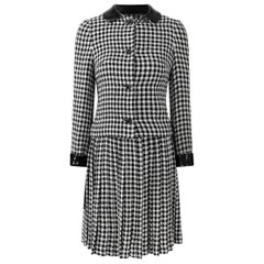 1960s Anne Fogarty Wool Monochrome Check Twin Set With Black Patent Trim