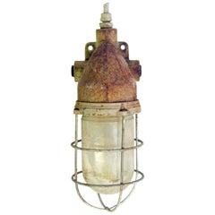 1960s Antique Industrial Nautical Sconce with Original Patina