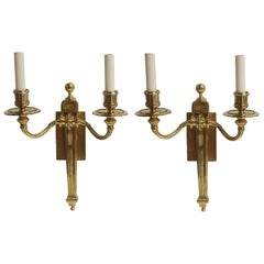 1960s Antique Pair of Federal Double Arm Wall Sconces Made of Cast Brass