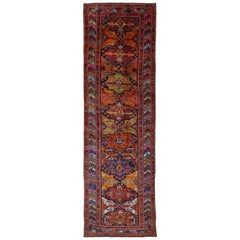 1960s Antique Persian Rug Azerbaijan Design With Pastel Colored Traditional Moti