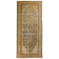 1960s Antique Persian Rug Malayer Design with Fading Floral Details
