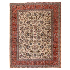 1960s Antique Persian Tabriz Rug with Flora and Fauna Patterns in Ivory and Pink