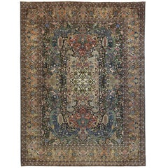 1960s Antique Persian Tabriz Rug with Tribal Allover Floral Design Patterns