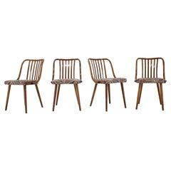 1960s Antonin Suman Beech Dining Chairs, Set of 4