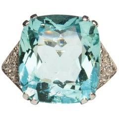 1960s Aquamarine and Diamond Ring