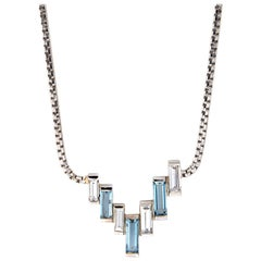 1960s Aquamarine Diamond Necklace 18 Karat White Gold Geometric Estate Jewelry
