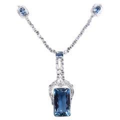 1960s Aquamarine Diamond Pendant Necklace