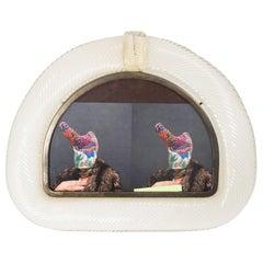1960s Arch Shaped Picture Frame Design Tommaso Barbi Blown Lattimo Murano Glass