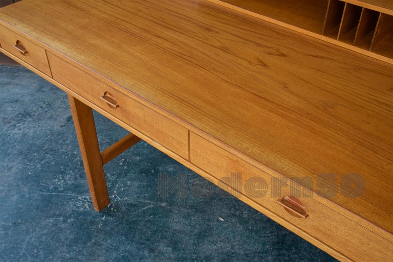 1960s Architect Table Lovig Flip-Top Teak Partners Desk Scandinavian Midcentury For Sale 6