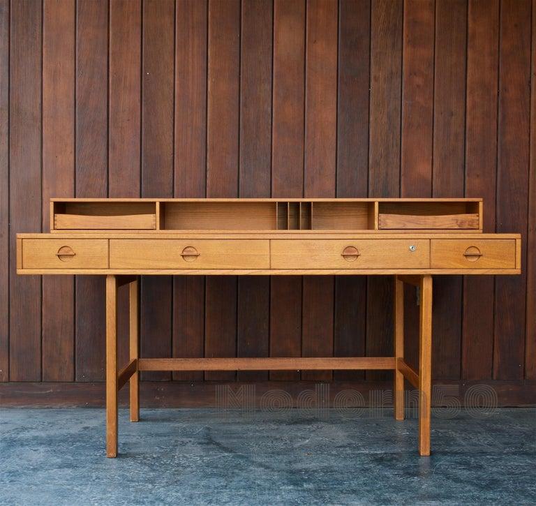 Scandinavian Modern 1960s Architect Table Lovig Flip-Top Teak Partners Desk Scandinavian Midcentury For Sale