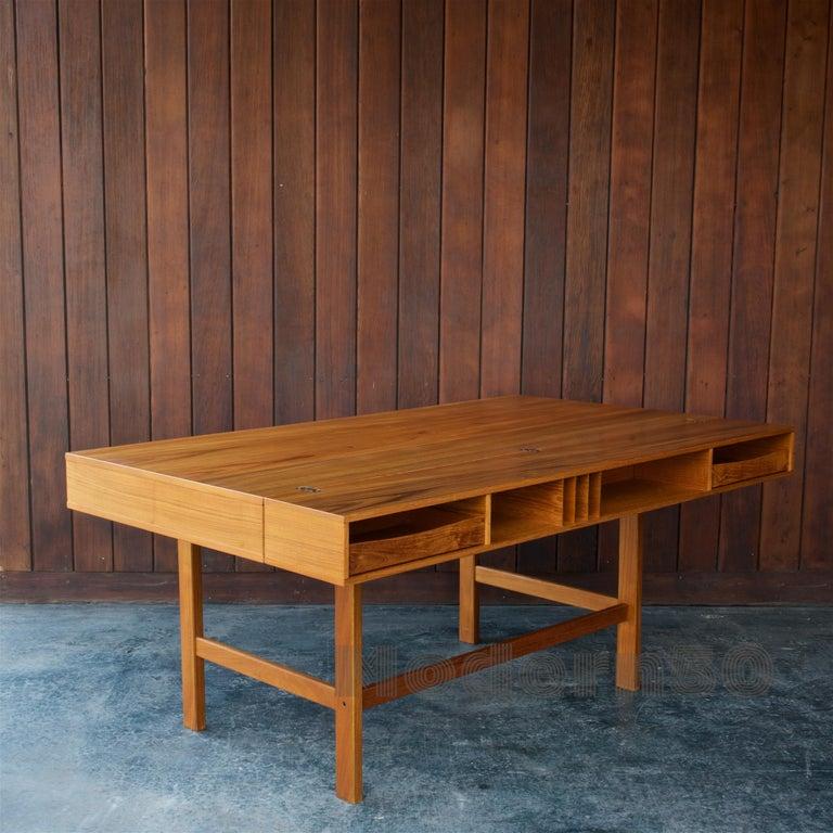 Danish 1960s Architect Table Lovig Flip-Top Teak Partners Desk Scandinavian Midcentury For Sale