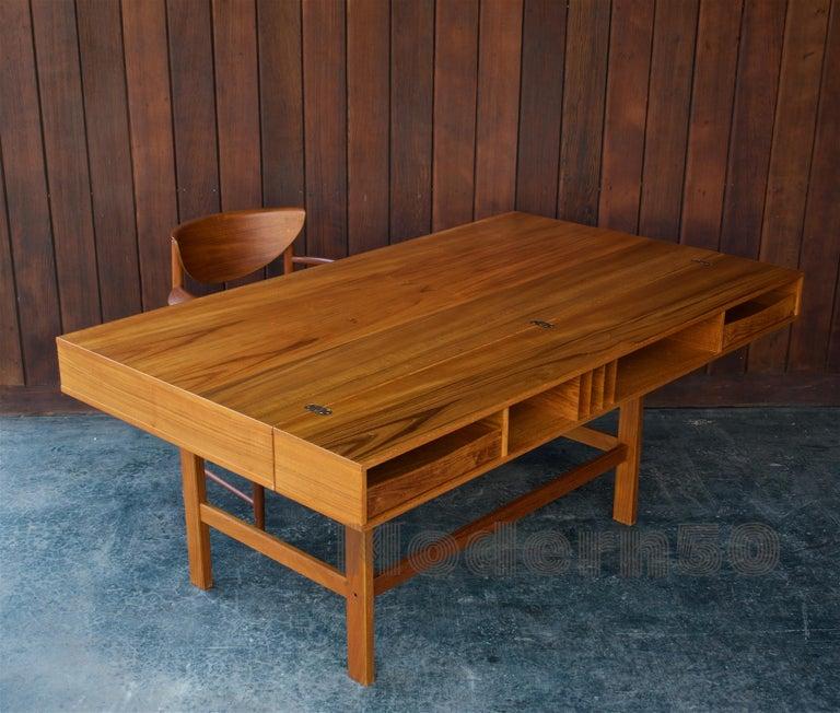 Veneer 1960s Architect Table Lovig Flip-Top Teak Partners Desk Scandinavian Midcentury For Sale