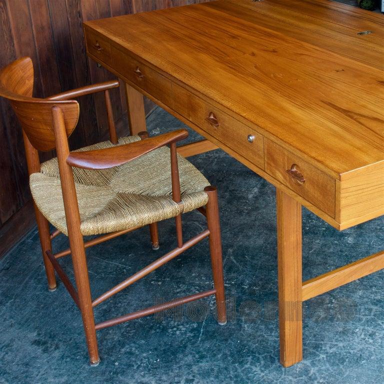 Late 20th Century 1960s Architect Table Lovig Flip-Top Teak Partners Desk Scandinavian Midcentury For Sale
