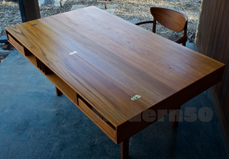 1960s Architect Table Lovig Flip-Top Teak Partners Desk Scandinavian Midcentury For Sale 1